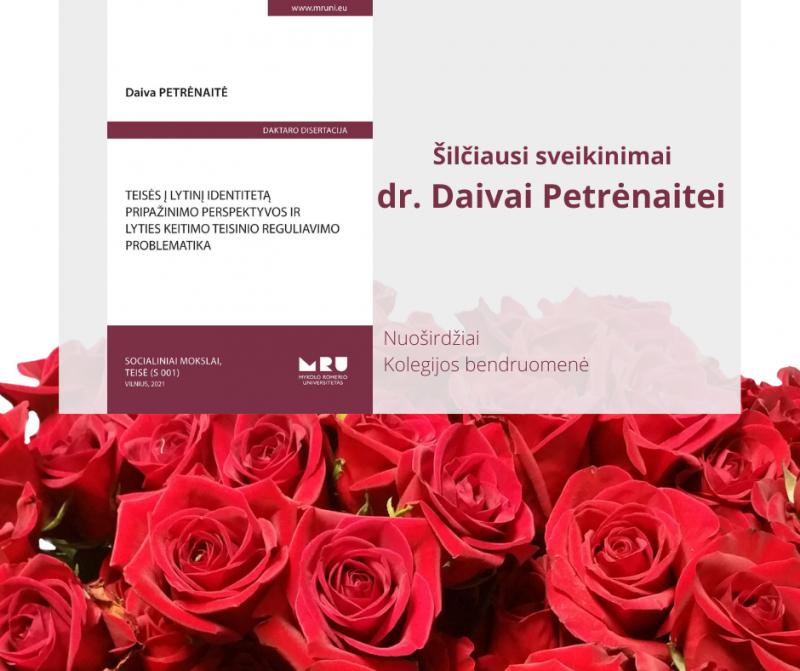 Sveikiname kolegę D. Petrėnaitę, apgynusią daktaro disertaciją