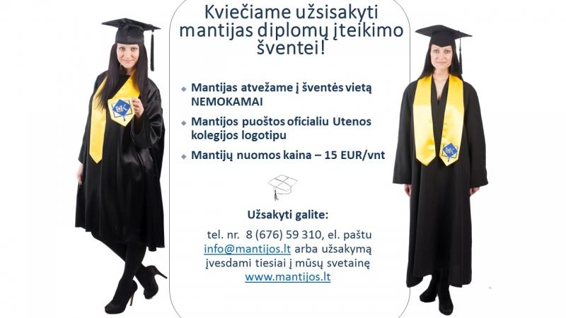 Informacija absolventams dėl mantijų