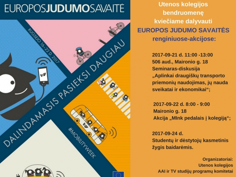 Europos judumo savaitės renginiai kolegijoje