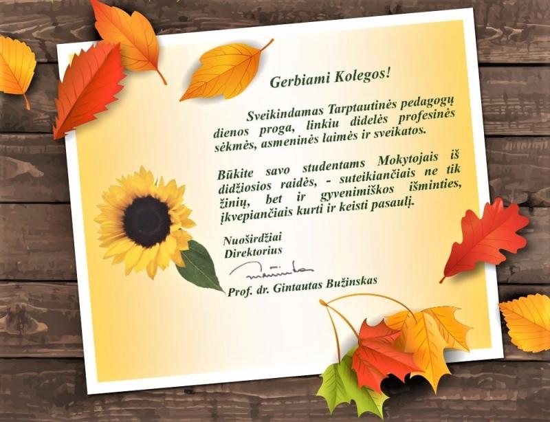 Kolegijos  direktoriaus prof. dr. G. Bužinsko sveikinimas Pedagogų dienos  proga
