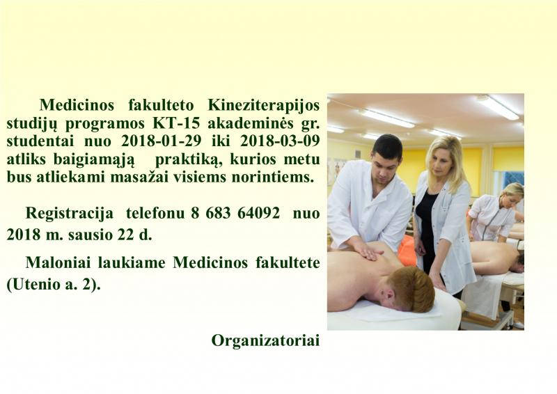 Kineziterapijos studijų programos studentai kviečia į masažo procedūras