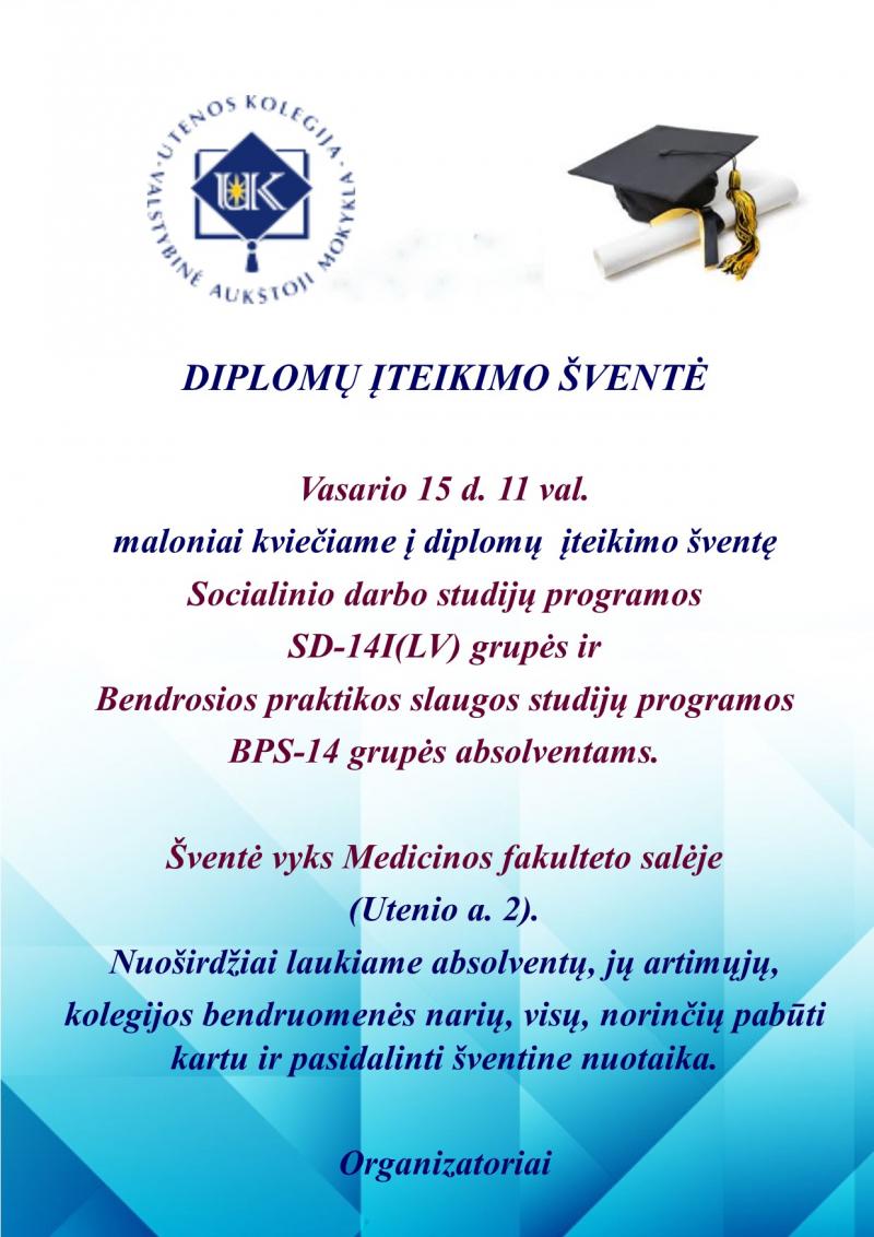 Diplomų įteikimo šventė BPS-14 ir SD-14I(LV) akademinių grupių absolventams