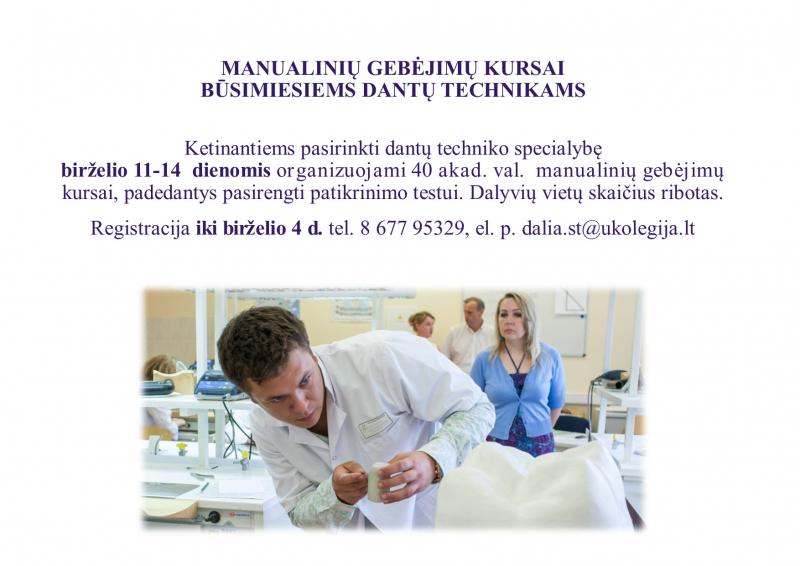 Manualinių gebėjimų kursai būsimiesiems dantų technikams
