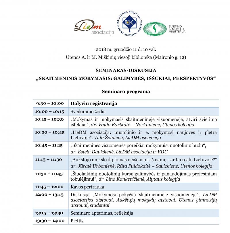 """Seminaras """"Skaitmeninis mokymasis: galimybės, iššūkiai, perspektyvos"""""""