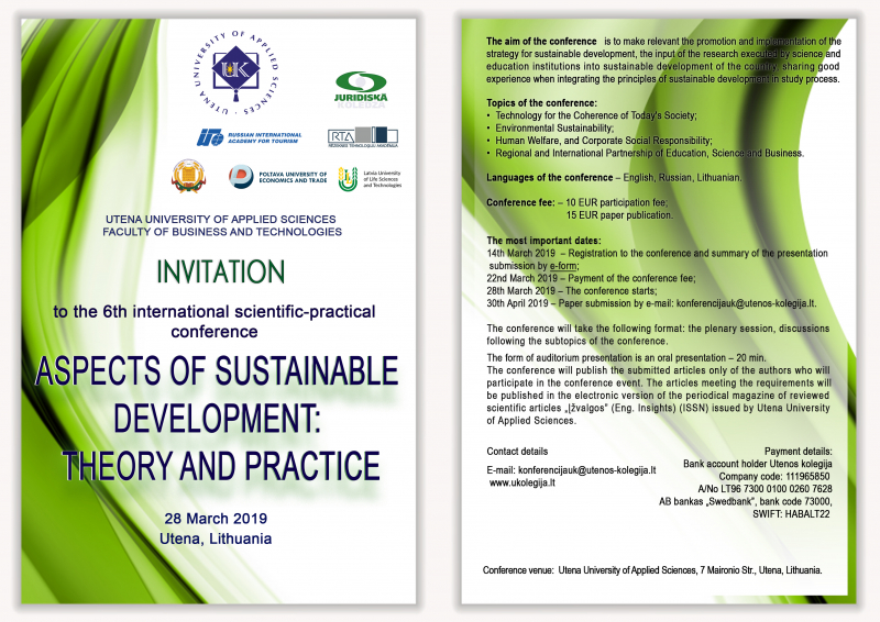 """Invitation to  the  6th international scientific-practical conference """"Aspects of Sustainable Development: Theory and Practice """"."""