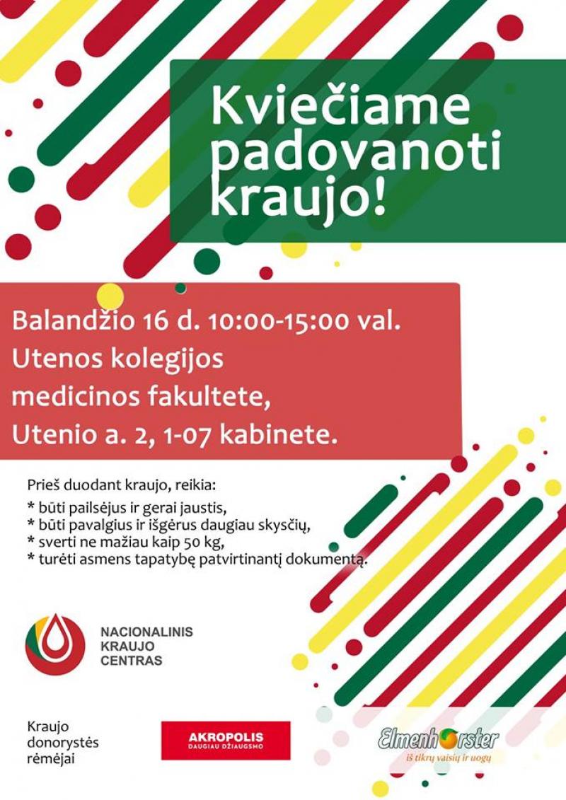 Padovanok kraujo - išgelbėk gyvybę