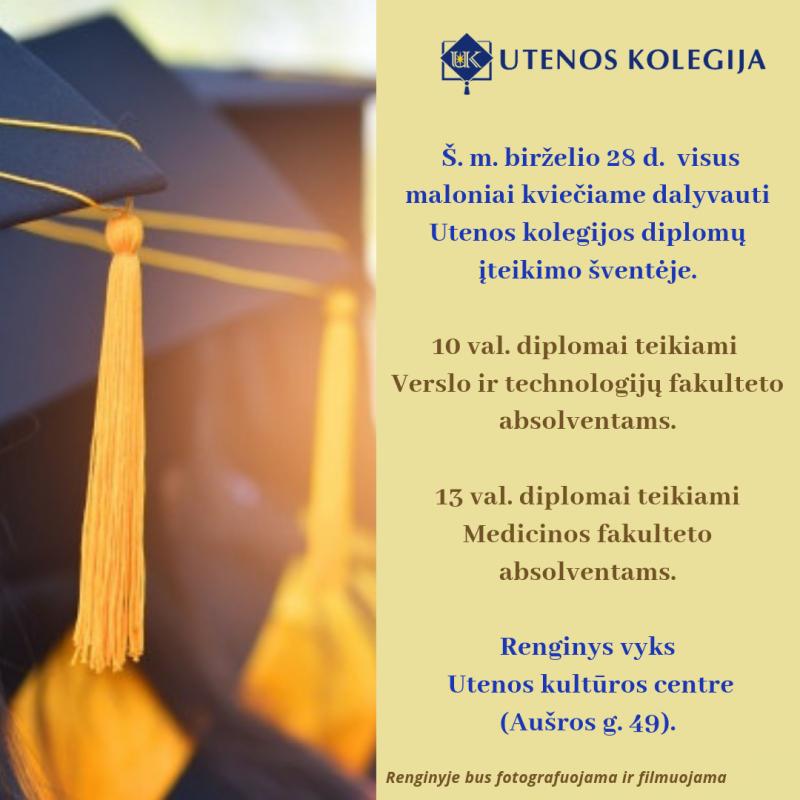 Utenos kolegijos diplomų įteikimo šventė