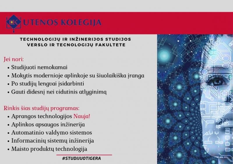 Nemokamos inžinerijos ir technologijų mokslų studijos Utenos kolegijoje