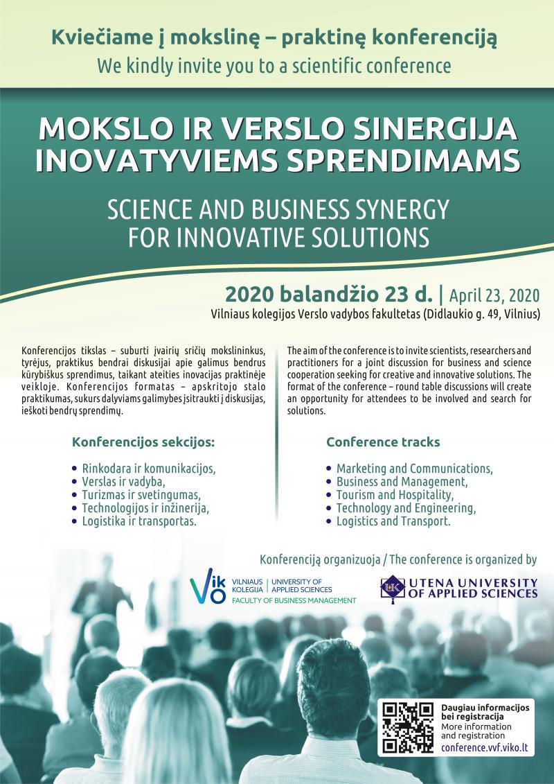 """Mokslinė-praktinė konferencija ,,Mokslo ir verslo sinergija inovatyviems sprendimams"""""""